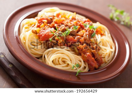italian pasta spaghetti bolognese - stock photo