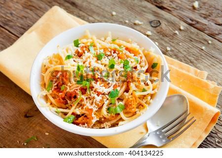 Italian pasta - Spaghetti with vegetable sauce close up - stock photo