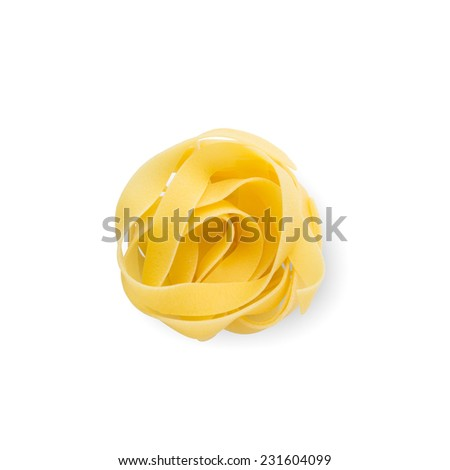 Italian Pasta Tagliatelle Round. With Clipping Path. - stock photo