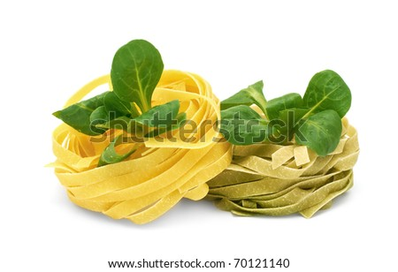 Italian pasta tagliatelle with corn salad on a white background