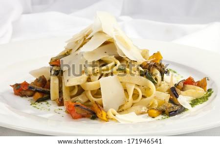Italian pasta w aubergine and parmesan - stock photo