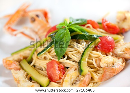 Italian pasta with seafood on a plate