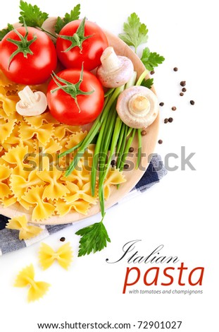 italian pasta with tomato and champignons isolated on white background - stock photo