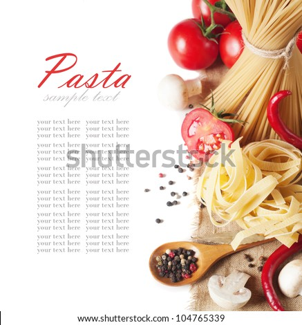 italian pasta with tomato and mushrooms - stock photo