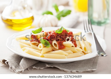 italian pasta with tomato sauce - stock photo