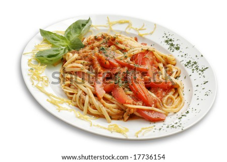 Italian pasta with tomato. White isolated with path.