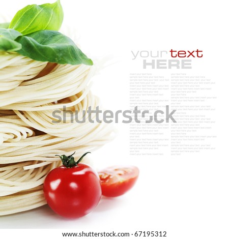 Italian Pasta with tomatoes and basil on a white background with sample text - stock photo