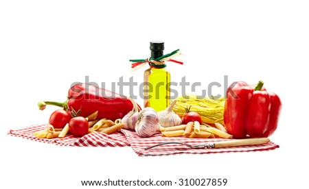 Italian Pasta with tomatoes, garlic, pepper,olive oil  on a white background isolated - stock photo