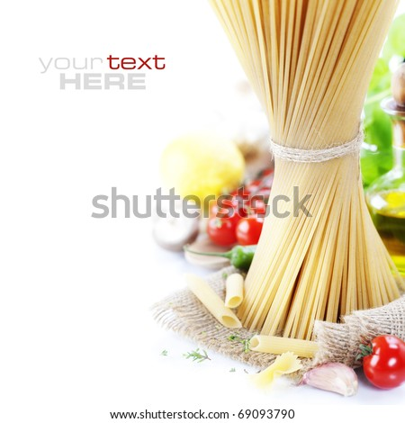 Italian Pasta with tomatoes, mushrooms, olive oil and basil on a white background (with space for text) - stock photo
