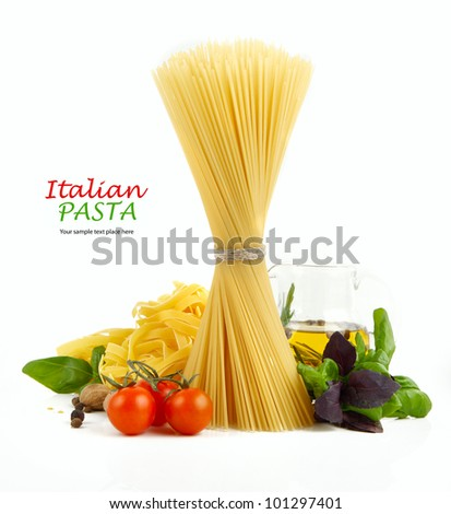 Italian Pasta with tomatoes, paprika and basil isolated on white. - stock photo