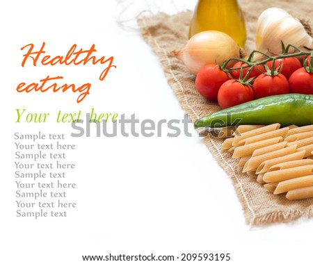 Italian Pasta with vegetables and olive oil on a white background (with space for text) - stock photo