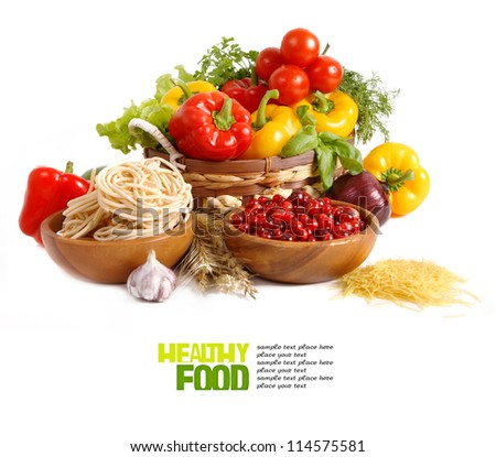 Italian Pasta with vegetables isolated on white. - stock photo