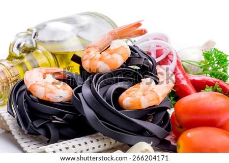 Italian Pasta with vegetables on white background - stock photo