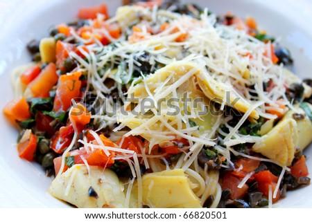 Italian pasta with veggies - stock photo