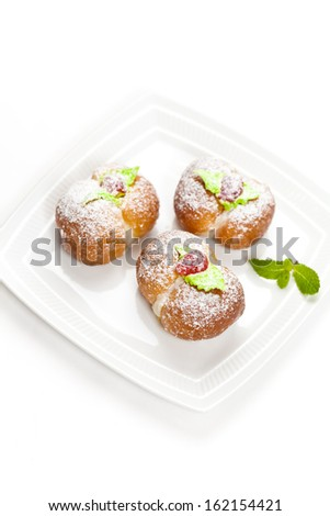 Italian Peach shaped Cookies. Traditional Italian weddings and other special occasions sweets  - stock photo