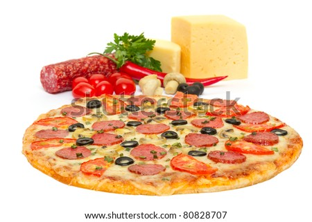 Italian pizza and its ingredients isolated on white