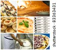 Italian pizza - collage - stock photo