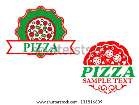 Italian pizza emblems and banners for fast food design. Vector version also available in gallery - stock photo