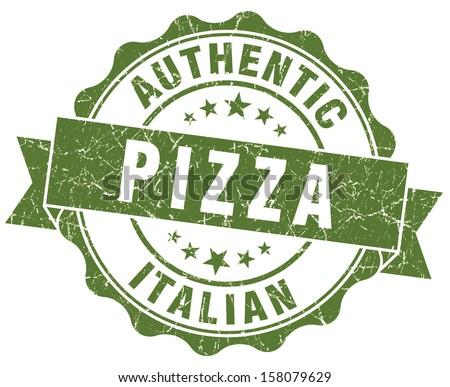 italian pizza green grunge stamp - stock photo