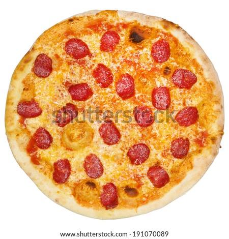 Italian pizza isolated on white background - stock photo