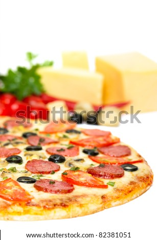 italian pizza isolated on white focus on foreground - stock photo