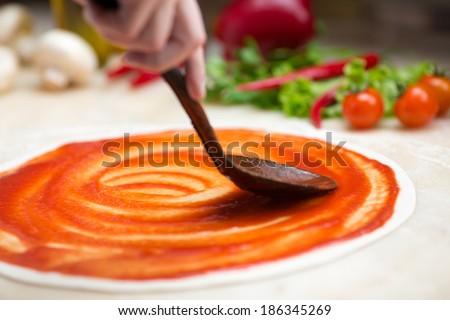 Italian pizza making - stock photo