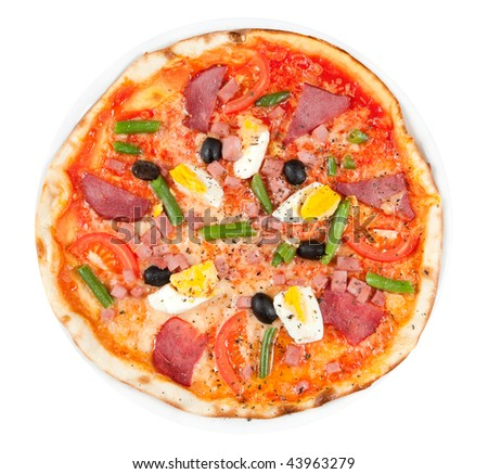 Italian pizza with ham, olives, tomato and eggs isolated. Clipping path
