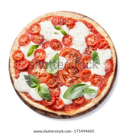 Italian pizza with tomatoes and mozzarella on white background - stock photo