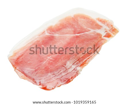 Italian prosciutto crudo or spanish jamon. Raw ham on white background.