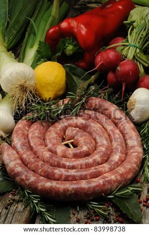 italian raw sausage - stock photo
