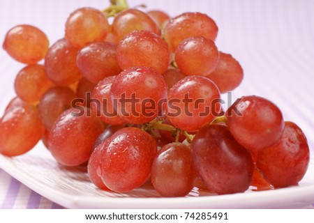 Italian red table grape on a white plate. Selective focus, extra-shallow DOF - stock photo