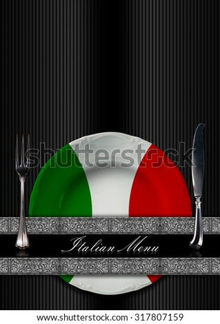 Italian Restaurant Menu Design / Restaurant menu with green, red and white plate, italian flag, silver cutlery, two silver floral bands and text Italian Menu - stock photo