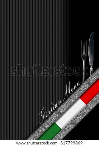 Italian Restaurant Menu Design / Restaurant menu with italian flag, silver cutlery, diagonals silver bands and text Italian Menu - stock photo