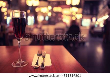 Italian restaurant serving table background - stock photo