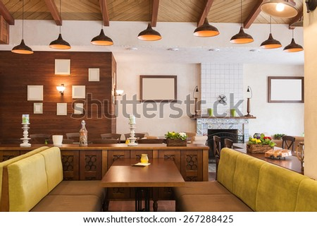 Italian restaurant with modern but cozy interior - stock photo