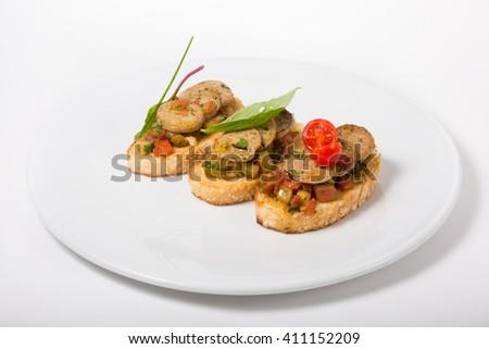 Italian sandwich. Bruschetta - stock photo