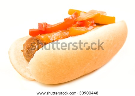 Italian Sausage and peppers on a bun isolated on white - stock photo