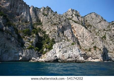 italian sea coast, capri, italy, from the boat - stock photo