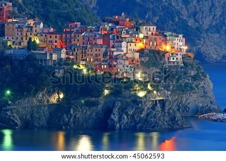Italian sea village Manarola in Cinque Terre - stock photo