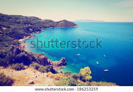 Italian Seascape with  Indented Coastline, Instagram Effect - stock photo