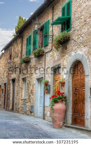 Italian small town view with HDR editing - stock photo