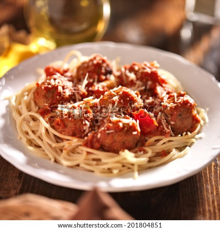 italian spaghetti and meatballs in tomato sauce. - stock photo