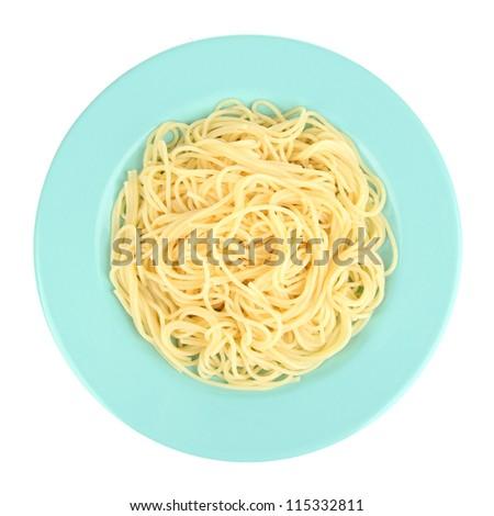 Italian spaghetti in plate isolated on white - stock photo