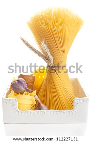 Italian spaghetti, pasta and garlic