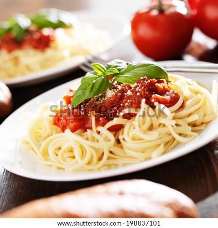 italian spaghetti pasta with tomato sauce - stock photo