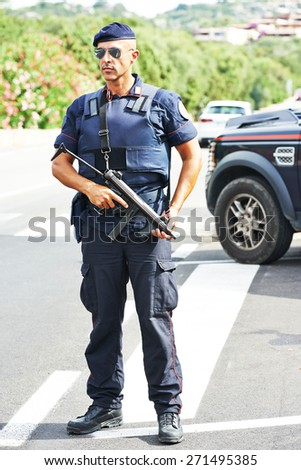 Italian special military police force carabinier on duty - stock photo