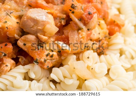 Italian Spiral Pasta And Fresh Cooked Salmon - stock photo