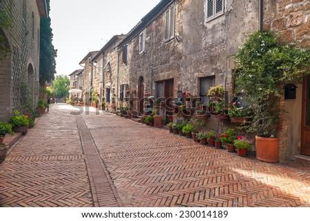 italian street in old  village Pitigliano, Tuscany, Italy, Europe - stock photo
