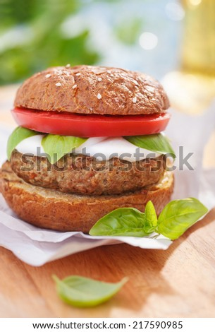 Italian style burger with mozzarella cheese, basil and tomatoes - stock photo