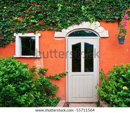 Italian style door, on ivy wall - stock photo